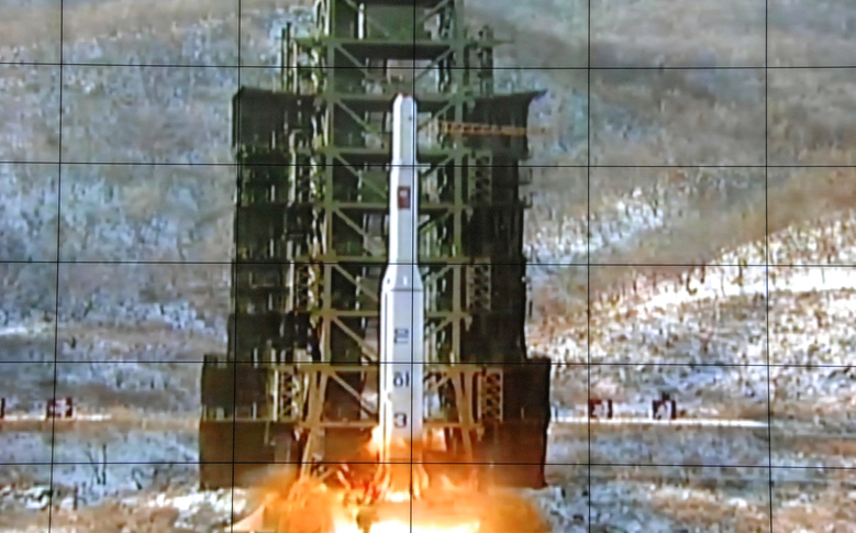 FILE – In this Dec. 12, 2012 file photo, a screen at the General Satellite Control and Command Center shows the moment North Korea's Unha-3 rocket is launched in Pyongyang, North Korea. North Korea said Monday, Sept. 14, 2015 it is ready to launch satellites aboard long-range rockets to mark a key national anniversary next month, a move expected to rekindle animosities with its rivals South Korea and the United States. North Korea has spent decades trying to perfect a multistage, long-range rocket. After several failures, it put its first satellite into space with a long-range rocket launched in late 2012. (AP Photo/File)
