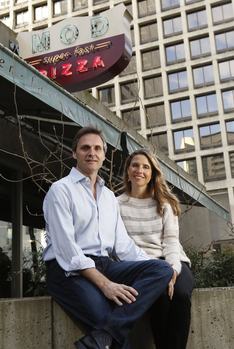 Scott and Ally Svenson are the co-founders of MOD Pizza, which is expanding into the U.K. (BETTINA HANSEN/The Seattle Times)