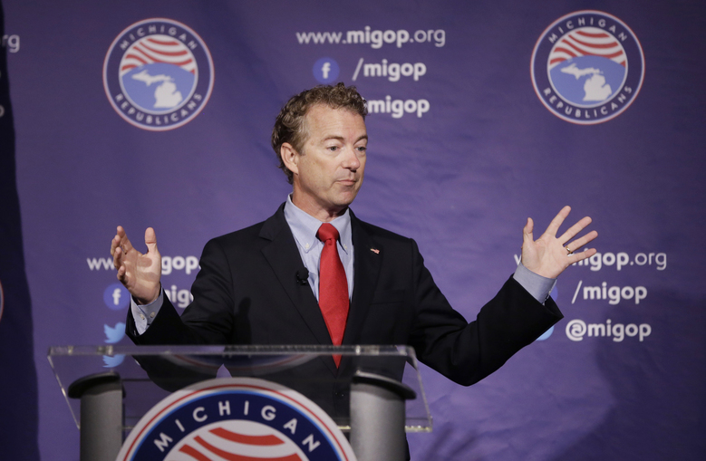 Republican presidential candidate, Sen. Rand Paul, R-Ky., addresses the 2016 Mackinac Republican Leadership Conference, Saturday, Sept. 19, 2015, in Mackinac Island, Mich. (AP Photo/Carlos Osorio)