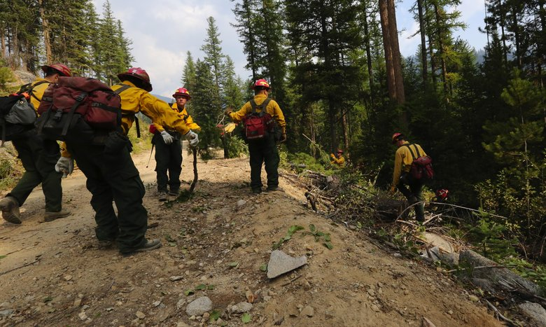 Firefighters from Oregon prepare for a controlled burn on a back road in Okanogan County.  (Alan Berner/The Seattle Times)