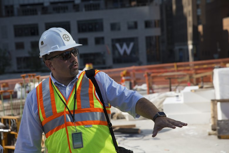 Jerry Dimitriou, executive director of the Greek Orthodox Archdiocese of America, tours the construction site of the St. Nicholas National Shrine at the World Trade Center in New York. (MICHAEL APPLETON/NYT)