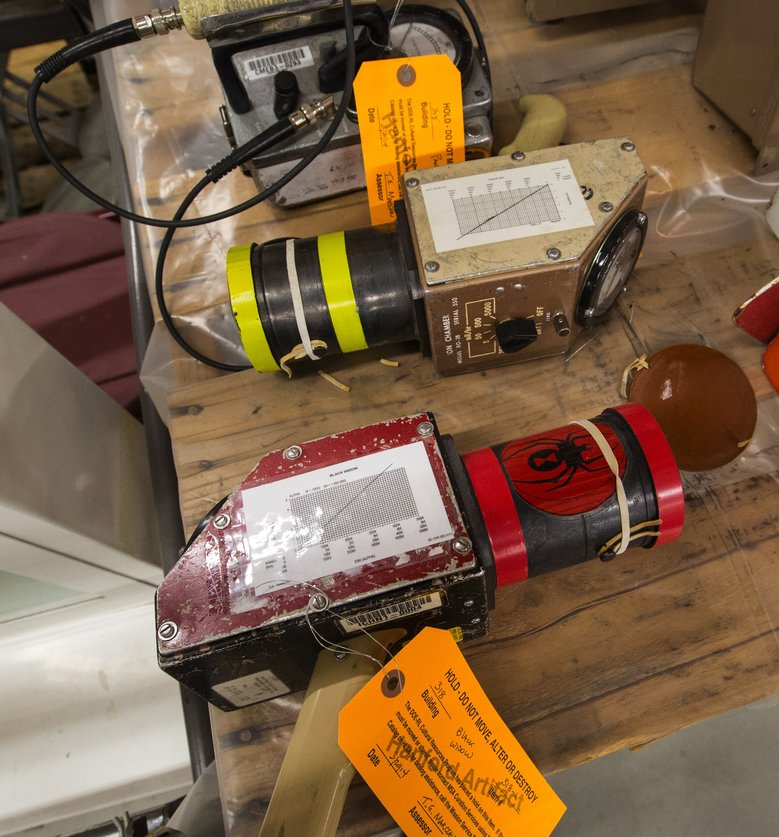 WSU is taking charge of about 3,000 artifacts from Hanford offices, including these two radiation-survey instruments named the Black Widow and the Bumble Bee. (Mike Siegel/The Seattle Times)