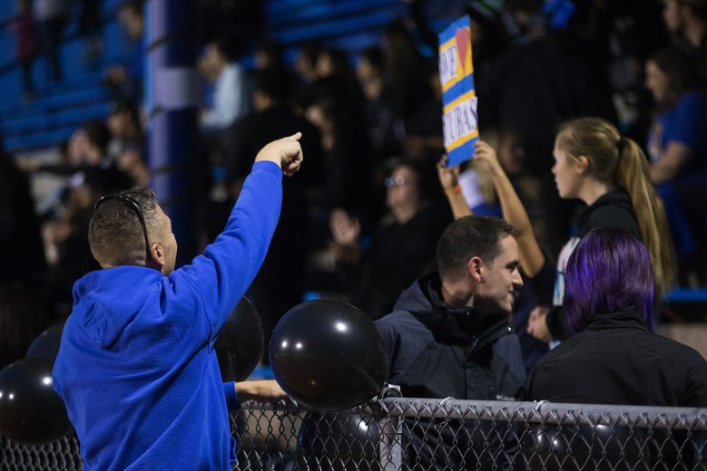 Kennedy acknowledges support from fans in the stands. (Lindsey Wasson/The Seattle Times)