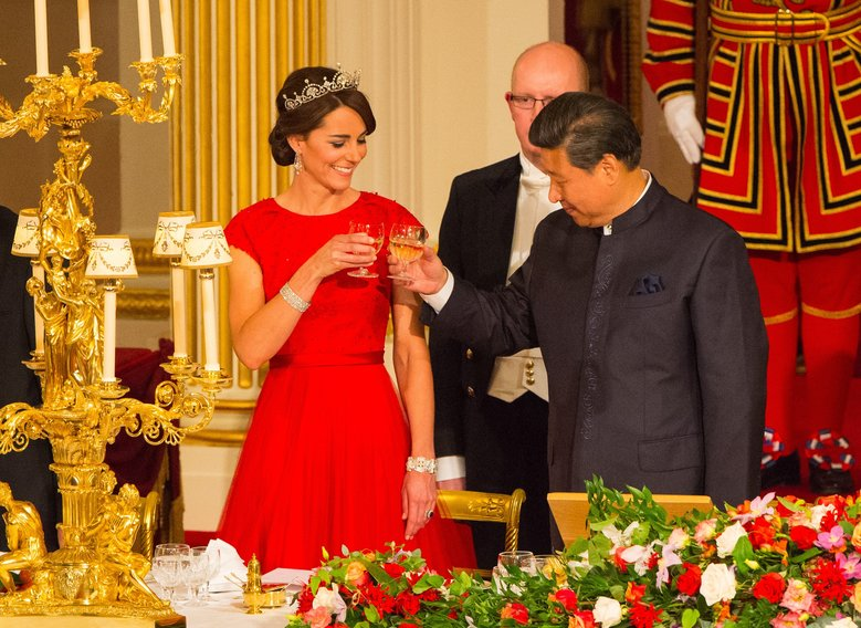 The Duchess of Cambridge and Chinese President Xi Jinping at a state banquet in the Ballroom at Buckingham Palace, London, on Tuesday, the first day of the state visit to the Britain. (Dominic Lipinski/AP)