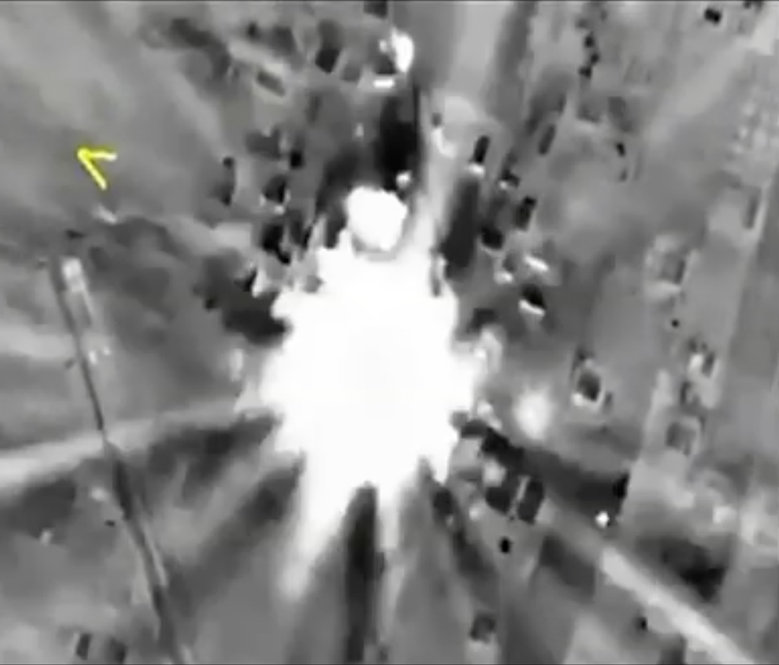 In this photo made from footage taken from Russian Defense Ministry official website on Thursday, Oct. 1, 2015, a bomb explosion is seen in Syria. Reacting to criticism that it is targeting opponents of the Syrian government, a spokesman for Russian President Vladimir Putin admitted on Thursday that Russia's airstrikes in Syria are targeting not only Islamic State militants but also other groups. (AP Photo/Russian Defense Ministry Press Service)