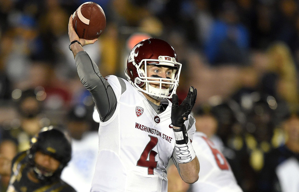 Washington State quarterback Luke Falk passes during the first half of an NCAA college football game against UCLA, Saturday, Nov. 14, 2015, in Pasadena, Calif.  (Mark J. Terrill / The Associated Press)