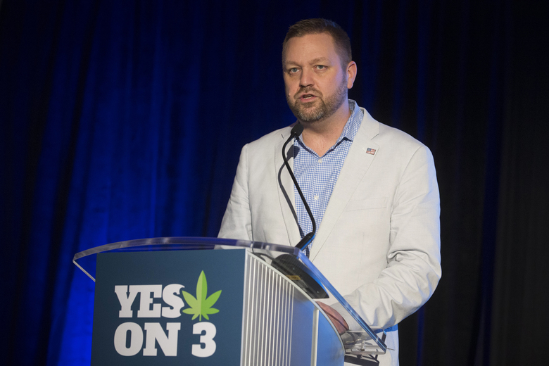 Ian James, executive director of ResponsibleOhio, a pro-marijuana legalization group, speaks to the crowd at an election night event at the Le Meridien hotel, Tuesday, Nov. 3, 2015, in Columbus, Ohio. Voters have rejected a ballot measure that would have made Ohio the first state to make marijuana legal for both recreational and medical use in a single stroke. (AP Photo/John Minchillo)