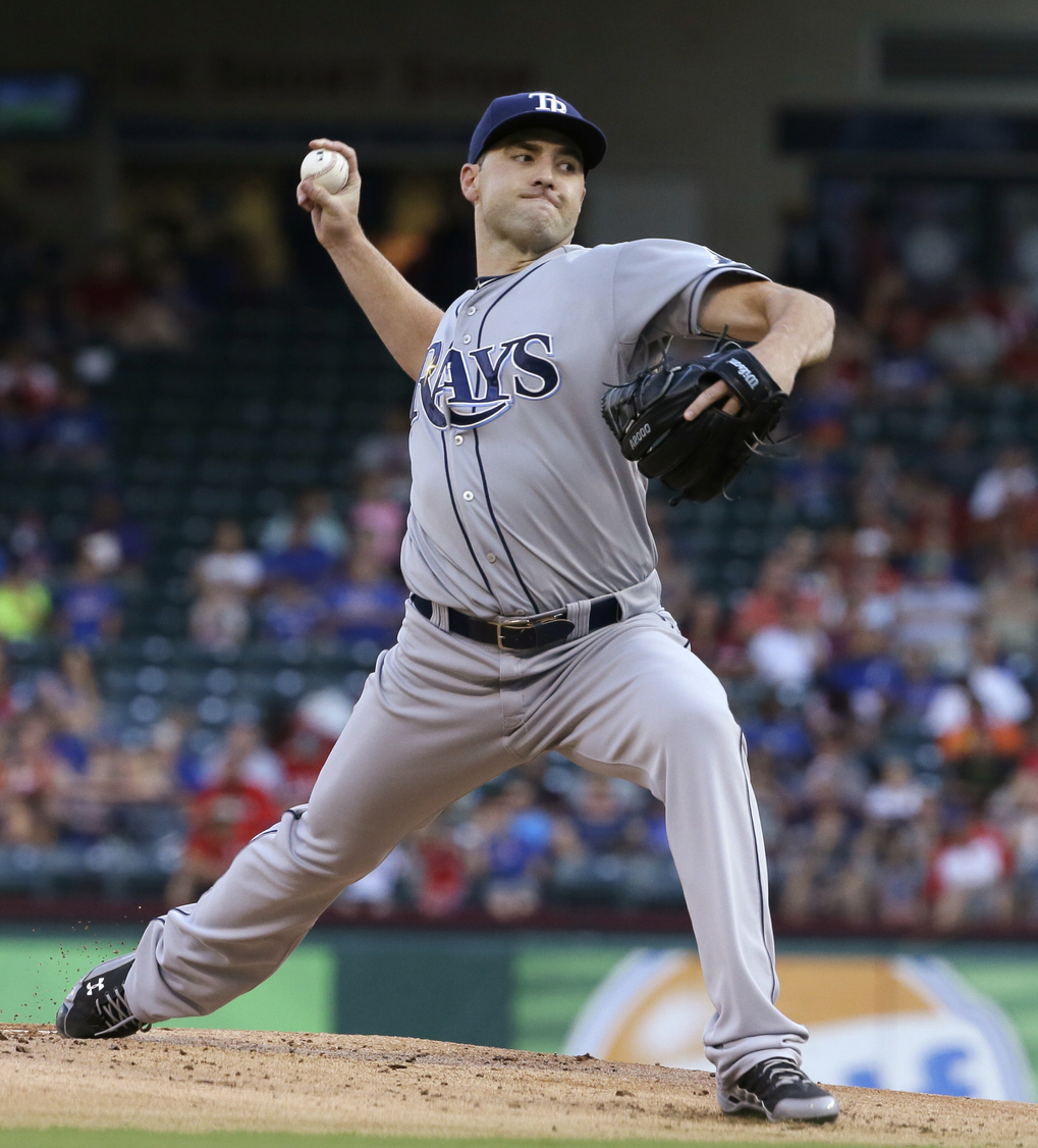 FILE – In this Aug. 14, 2015, file photo, Tampa Bay Rays starting pitcher Nathan Karns throws during a baseball game against the Texas Rangers in Arlington, Texas. The Seattle Mariners and the Rays have completed the first significant trade of the offseason, a six-player swap that sends infielder Brad Miller, first baseman Logan Morrison and pitcher Danny Farquhar to Tampa Bay for pitchers Karns and C.J. Riefenhauser, and minor league outfielder Boog Powell. The teams announced the deal Thursday night, Nov. 5. (AP Photo/LM Otero, File)
