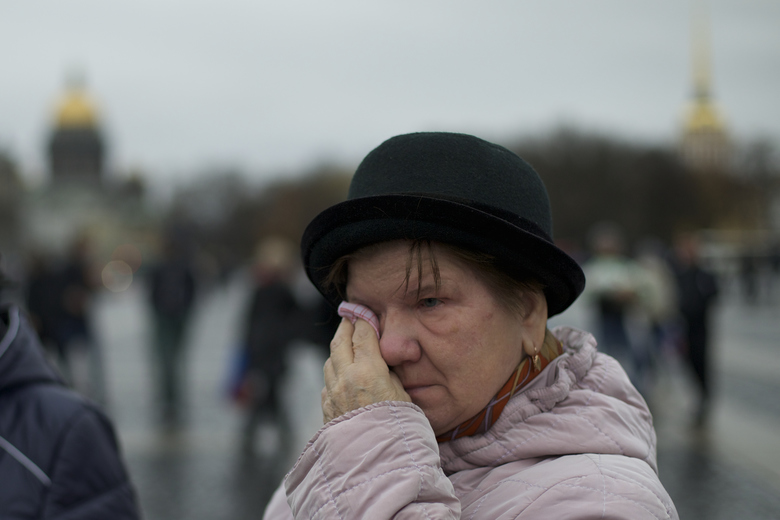 A woman cries during a religious service in memory of the plane crash victims in St.Petersburg, Russia, on Wednesday, Nov. 4, 2015. A Russian official says families have identified the bodies of 33 victims killed in Saturday's plane crash over Egypt. The Russian jet crashed over the Sinai Peninsula early Saturday, killing all 224 people on board, most of them were holidaymakers. (AP Photo/Ivan Sekretarev)