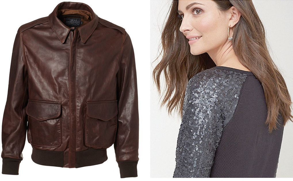 Schott Mustang Cowhide Leather Jacket. Tommy Bahama Pickford Sequin-Sleeve Sweater.