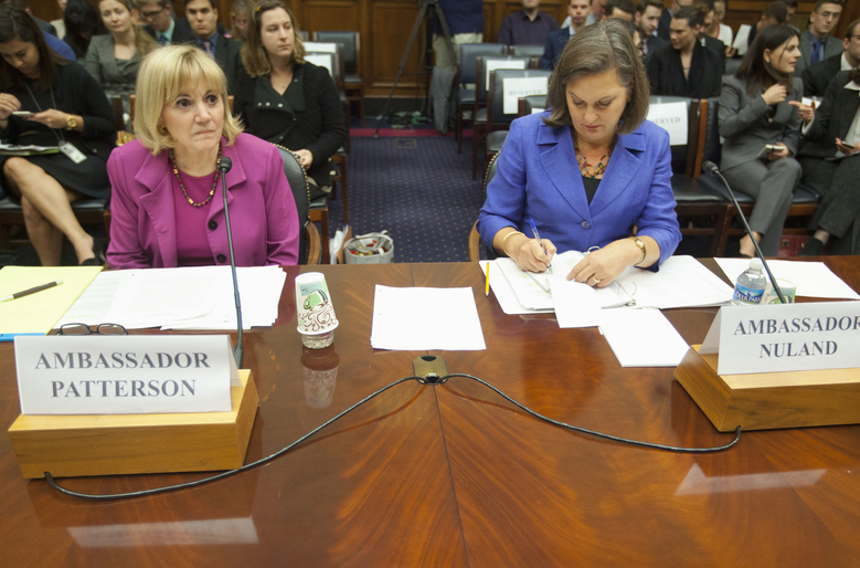Assistant Secretary of State for Near Eastern Affairs Anne Patterson, left, and Assistant Secretary for European and Eurasian Affairs Victoria Nuland,  wait to testify on Capitol Hill in Washington, Wednesday, Nov. 4, 2015,  before the House Foreign Affairs Committee hearing on Syria. The diplomats defended President Barack Obama?s policy to defeat Islamic State militants in Syria in the wake of Russian intervention that both say has dangerously destabilized the battlefield was defended during the hearing. (AP Photo/Pablo Martinez Monsivais)