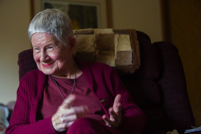Pat Flaherty, who was a first lieutenant in the Army, served stateside during WW II as a nurse and ended up serving in the Army until 1953. (Ellen M. Banner/The Seattle Times)