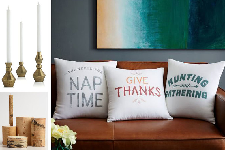 Clockwise from top left: Denby Antique Brass Taper Candle Holders, $13–$20; West Elm Thanksgiving Phrase Pillows, $39 each; World Market Birch Bark Candles, $5–$17