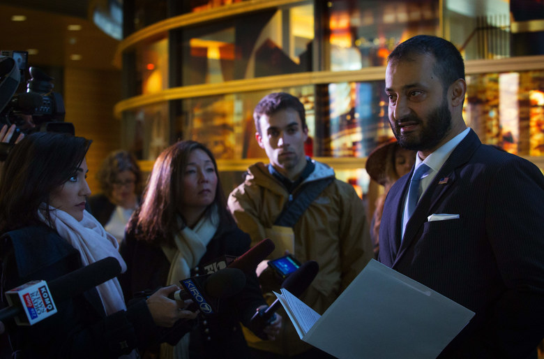 S. Arsalan Bukhari, executive director of the Council  on American-Islamic Relations of Washington State backed the call for swifter reform.  (Ellen M. Banner / The Seattle Times)