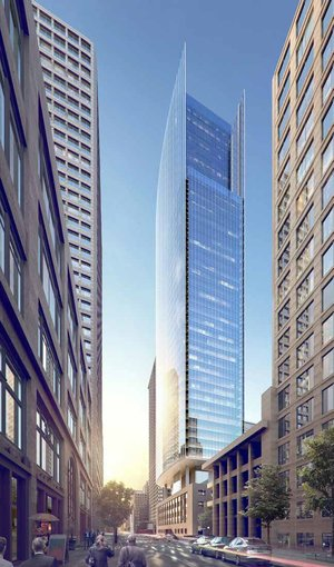 A rendering of developer Martin Selig's proposed tower above the former Federal Reserve Building at 1015 Second Ave. (Perkins+Will)