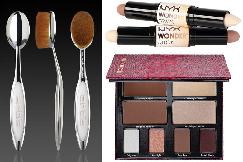 Clockwise from left: Artis Oval 7, $55; NYX Cosmetics Wonder Stick, $12; Kevyn Aucoin The Contour Book The Art of Sculpting + Defining Volume II, $65