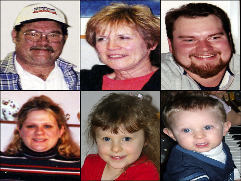 Members of the Anderson family who were killed Dec. 24, 2007, in Carnation, Washington. From top left: Wayne Anderson, 60, Judy Anderson, 61, Scott Anderson, 32. From bottom left,  Erica Anderson, 32,   Olivia Anderson, 5, and Nathan Anderson, 3.