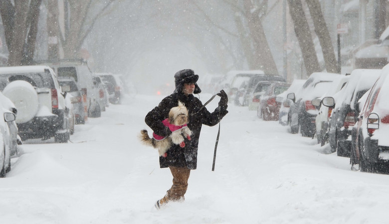 A man carries his dog through the snow during a snow storm in Brooklyn, New York on Saturday. The storm is bringing large amounts of snow to large portions the east coast of the United States.  (JUSTIN LANE / EPA)