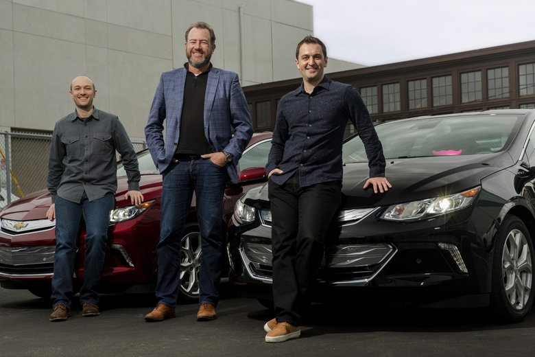 From left, Lyft CEO Logan Green, GM President Daniel Ammann and Lyft President John Zimmer. GM has invested a half-billion dollars in Lyft.  (LYFT/NYT)