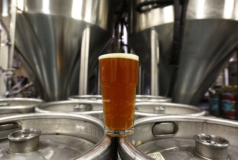 Old Flame IPA at Cloudburst Brewing in Seattle. (Ken Lambert/The Seattle Times)