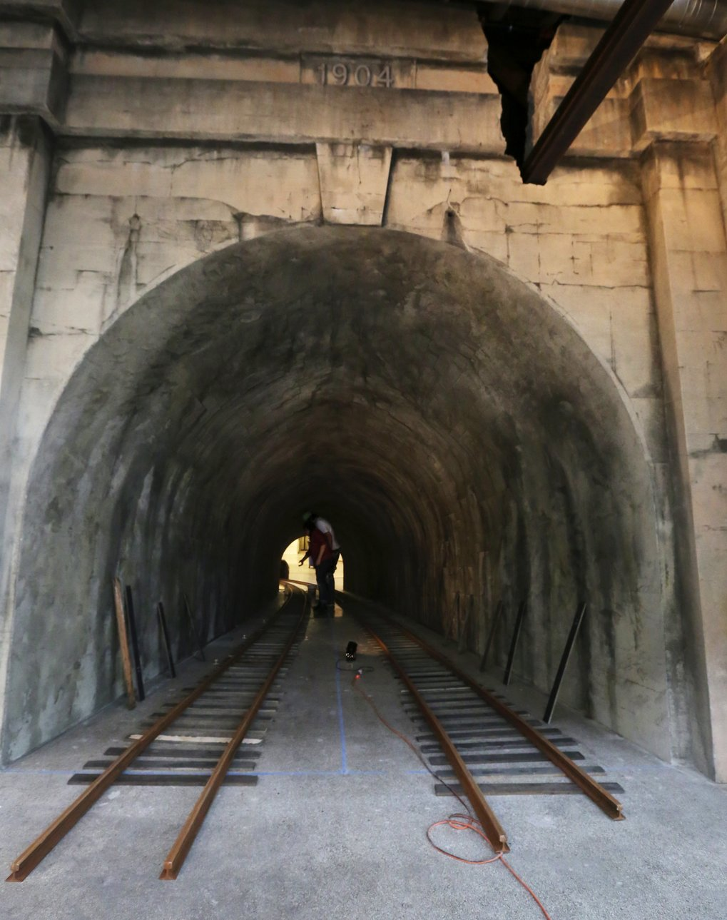 The face of the tunnel recreates the look of the rail tunnel running under Pioneer Square.  (Alan Berner/The Seattle Times)