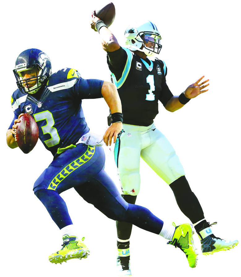 From left, Seahawks quarterback Russell Wilson and Panthers quarterback Cam Newton are facing off in the playoffs once again in the NFC Divisional game Sunday.