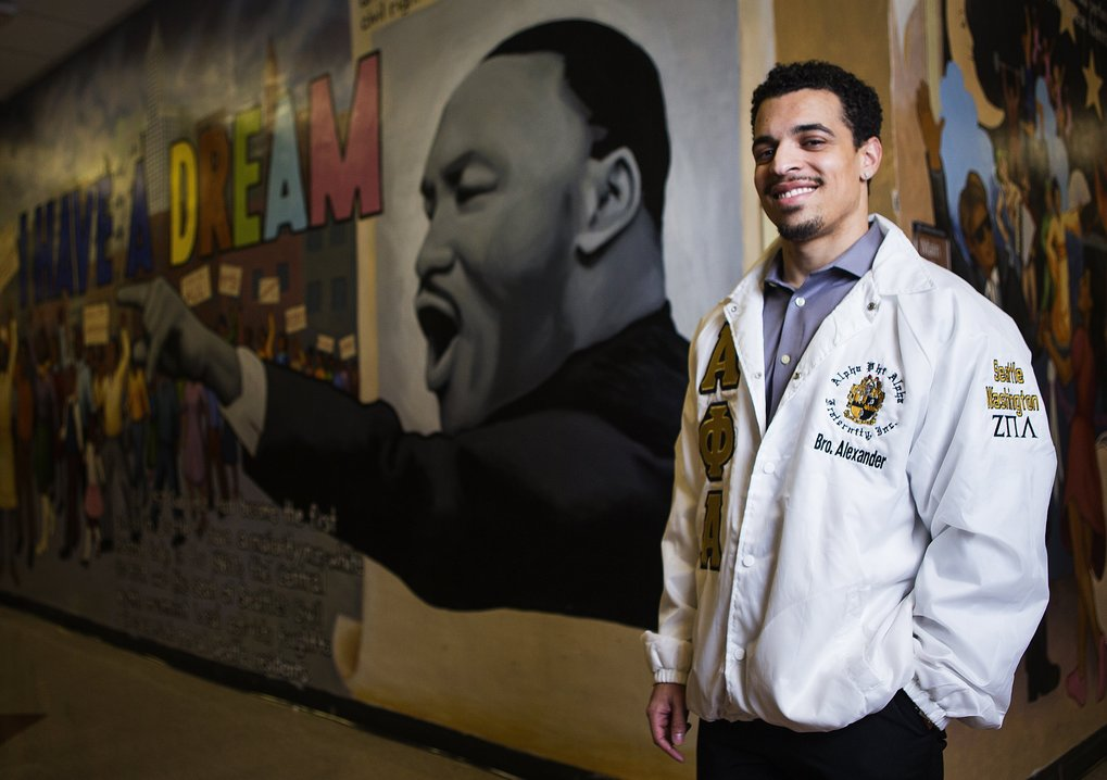 UW graduate Bobby Alexander, 25, is fighting conformity in his role as co-chair of Seattle's Martin Luther King Jr. Celebration. (Lindsey Wasson/The Seattle Times)