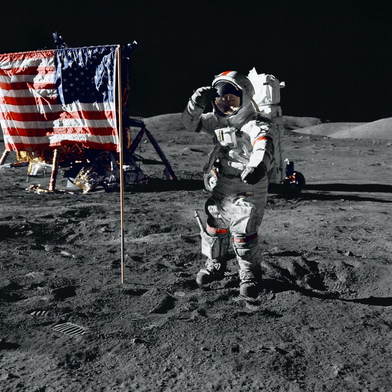 "Astronaut Eugene Cernan salutes the American flag on the lunar surface during the Apollo 17 mission in 1972, the last time anyone set foot on the moon, a moment memorialized in the documentary ""The Last Man on the Moon,"" which opens in Seattle on Friday. (NASA / Rex Features/AP)"