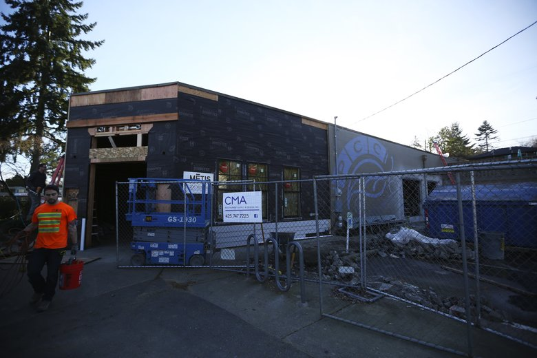 Coming soon: Third Place's new bookstore in Seward Park which will include a full bar/restaurant, Mon., Feb. 8, 2016, in Seattle. The site was a PCC, a strategy which worked for the chain's Ravenna bookstore. (Ken Lambert/The Seattle Times)