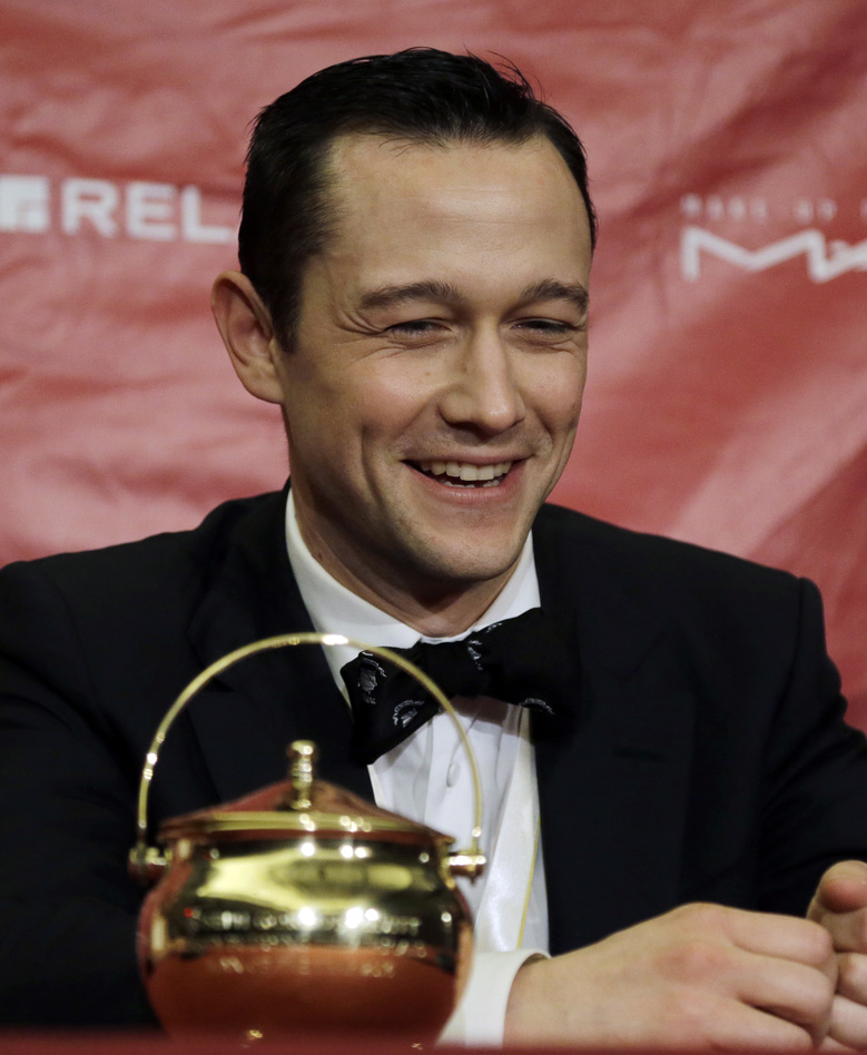 Actor Joseph Gordon-Levitt speaks at a news conference after being roasted as Harvard University's Hasty Pudding Theatricals Man of the Year, Friday, Feb. 5, 2016, in Cambridge, Mass. (AP Photo/Elise Amendola)