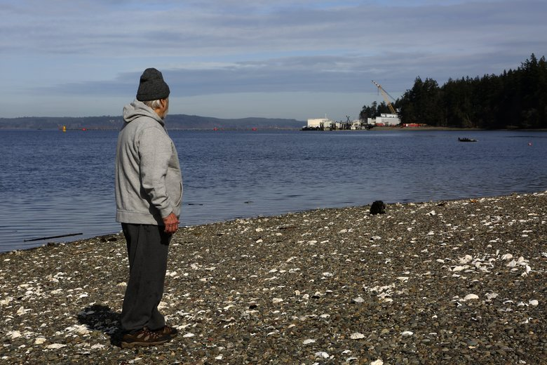 Alan Starcevich, looks at Naval Base Kitsap-Bangor from the north side of King Spit, which he said his family owns on Wednesday. (Ken Lambert/The Seattle Times)