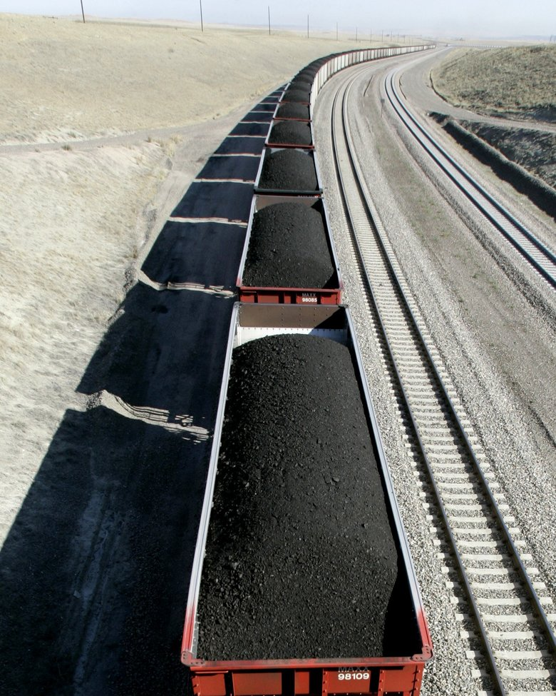 A train loaded with coal travels through northeast Wyoming near Gillette in 2006. (Nati Harnik/The Associated Press)