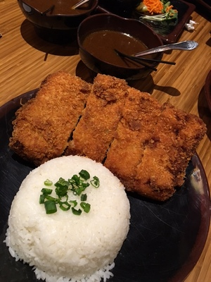 The chicken-breast cutlet katsu comes with the curry on the side.