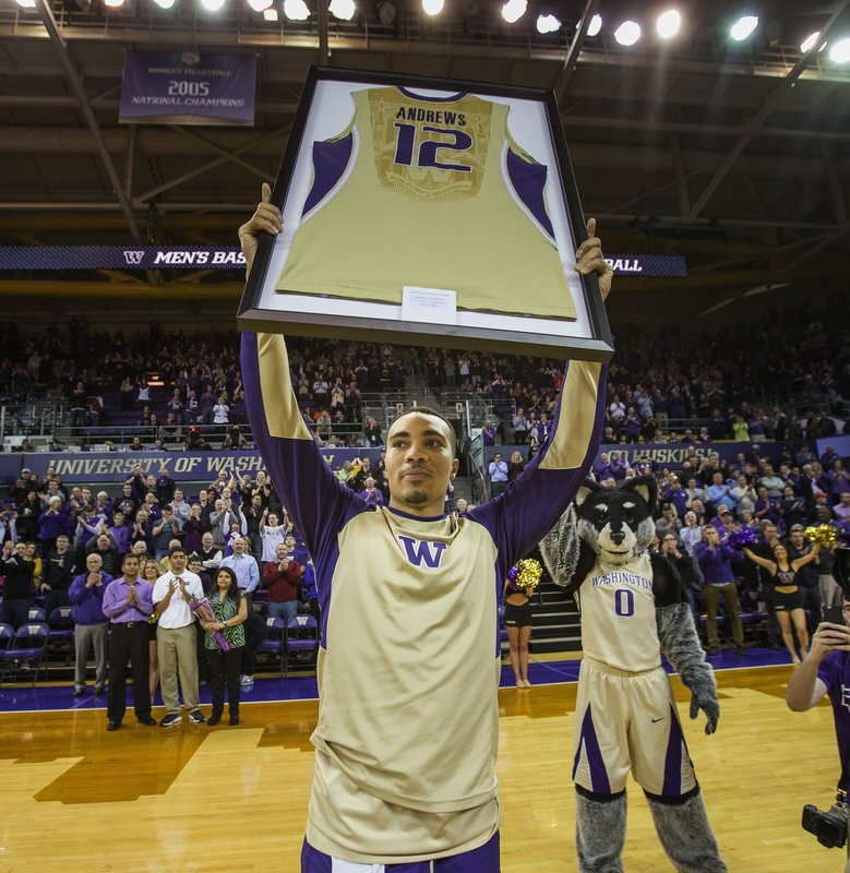 Senior Andrew Andrews was honored before the start of Wednesday's regular season finale with Washington State.    (Dean Rutz / The Seattle Times)