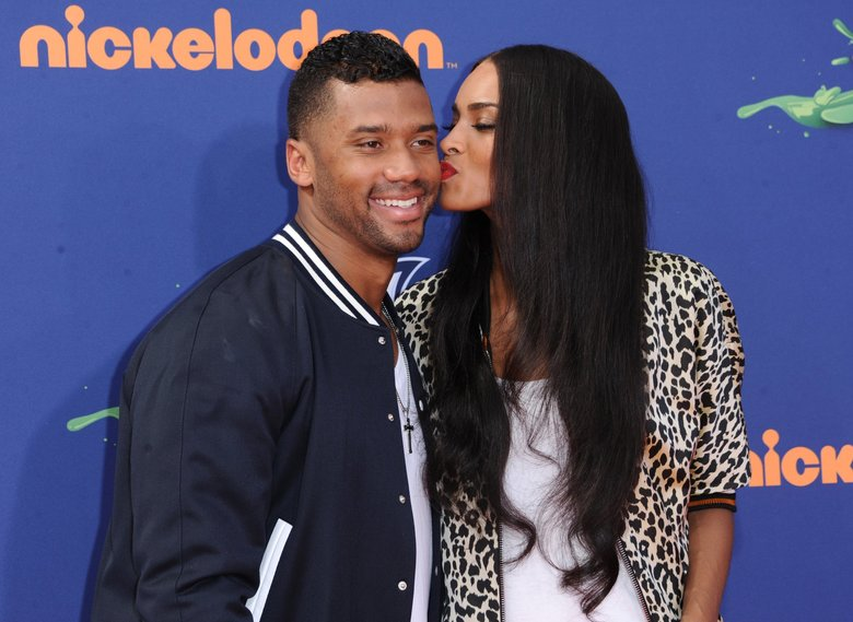 Russell Wilson, left, and Ciara arrive at the 2015 Kids' Choice Sports Awards at Pauley Pavilion on Thursday, July 16, 2015 in Los Angeles.  (Photo by Richard Shotwell/Invision/AP)