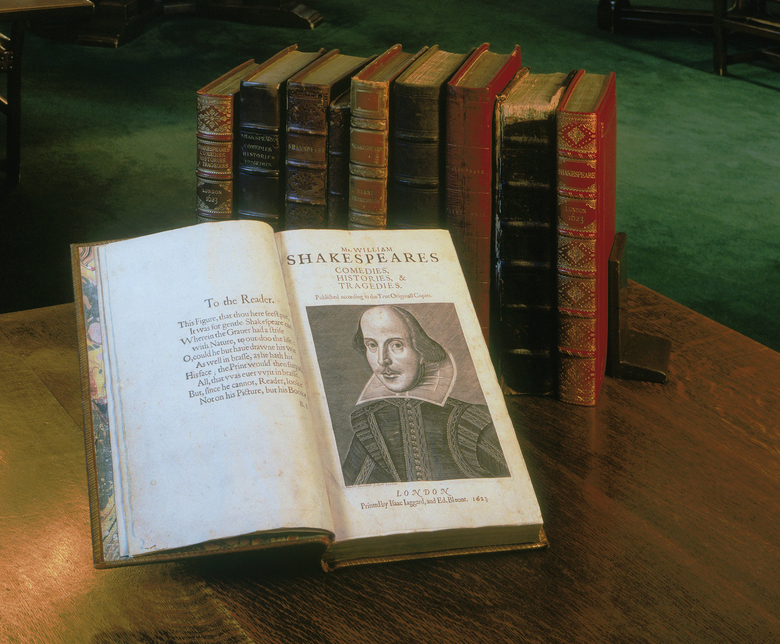 A collection of First Folios. Scholars believe that about 750 copies of the First Folio were produced, of which 233 survive. The Folger library owns 82 and is putting its collection on tour this year. (Folger Shakespeare Library)