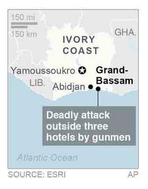 Map locates Grand-Bassam, Ivory Coast, where gunfire has been reported.; 1c x 4 inches; 46.5 mm x 101 mm;