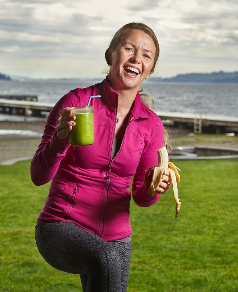 Emily Edison, a nutritionist/trainer and professional water skier, shares the recipe for her Momentum Power Smoothie. (Benjamin Benschneider/The Seattle Times)