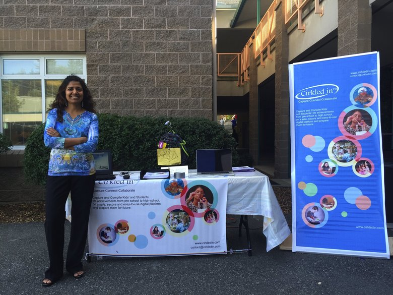 Reetu Gupta exhibiting Cirkled in, at Back-to-School event at Kokanee Elementary school in Northshore School District.  (Reetu Gupta / Cirkled in)