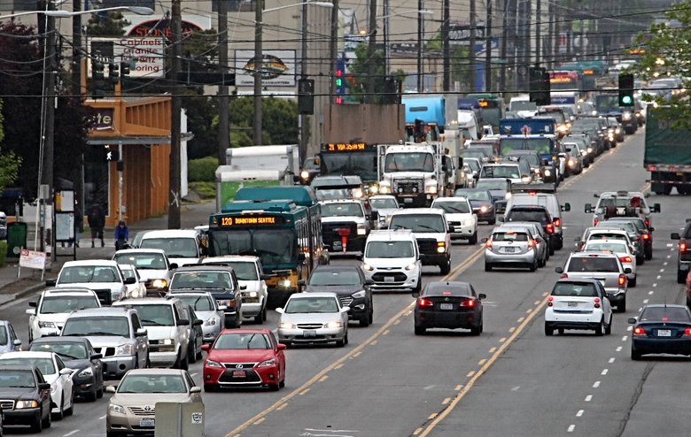 Heavy traffic stacks up in the northbound lanes (at left) of Fourth Avenue South in Seattle's Sodo neighborhood Friday morning, April 29, 2016, due in part to the closure of the Alaskan Way Viaduct. (Ellen M. Banner / The Seattle Times)