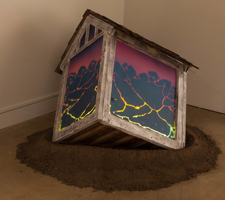 """Jeff Ballard's 2016 """"Landmark"""" (glass, resin, acrylic paint, dirt, sand, wood) is a nod to his father's 2009 death from early-onset Alzheimer's disease. (Kelly Lyon Photography)"""