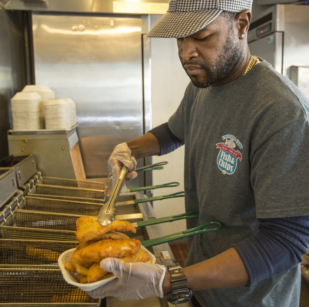 Stevie Allen opened Emerald City Fish & Chips on Rainier Avenue South six years ago. While Allen's a local, his family's from Louisiana, and he knows his way around a fish fry.  (Mike Siegel/The Seattle Times)