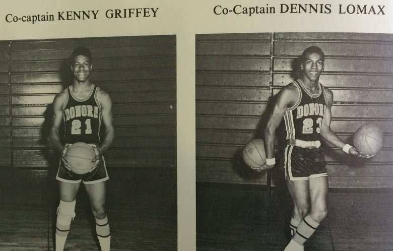 Ken Griffey Sr. and Dennis Lomax were basketball co-captains for Donora High School.