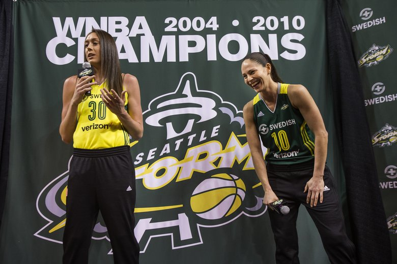 Sue Bird and Breanna Stewart talk about the familiarity they have for each other having played on the National team, and as UConn alumnus. The Seattle Storm welcomed draft pick Breanna Stewart to a press conference Thursday that included Sue Bird, coach Jenny Boucek, and team officials and sponsorship. (Dean Rutz/The Seattle Times)