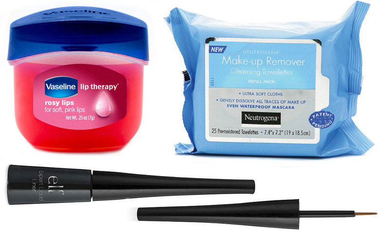 Vaseline Lip Therapy Rosy Lips, $4; Neutrogena Makeup Remover Cleansing Towelettes, $5; e.l.f. Expert Liquid Eyeliner, $2