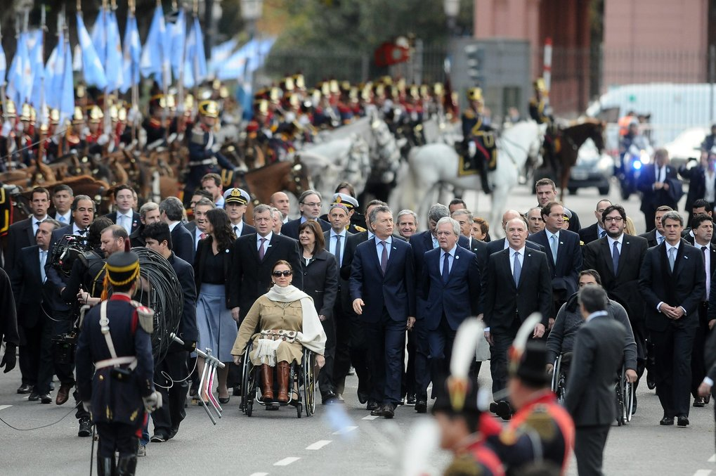 Argentine President Mauricio Macri (C), arrives with members of his Cabinet to Buenos Aires Metropolitan Cathedral in Buenos Aires, Argentina, May 25, 2016. Macri participates in the traditional Te Deum at the Cathedral, commemorating the 206 anniversary of the May Revolution.  EPA/GUSTAVO AMARELLE