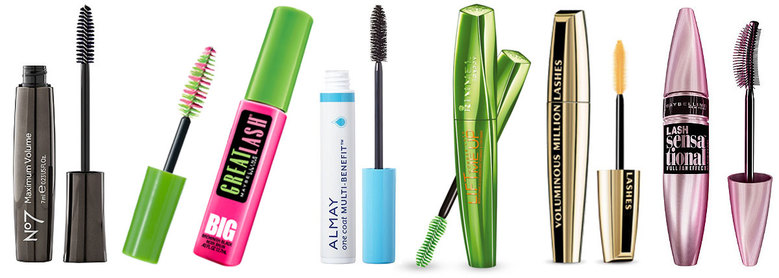 Boots No. 7 Maximum Volume, $9; Maybelline Great Lash Big Washable Mascara, $4.49; Almay One Coat Multi-Benefit, $7; Rimmel London Wonder'lash Lift Me Up, $8; L'Oreal Voluminous Million Lashes, $9; Maybelline Lash Sensational, $7