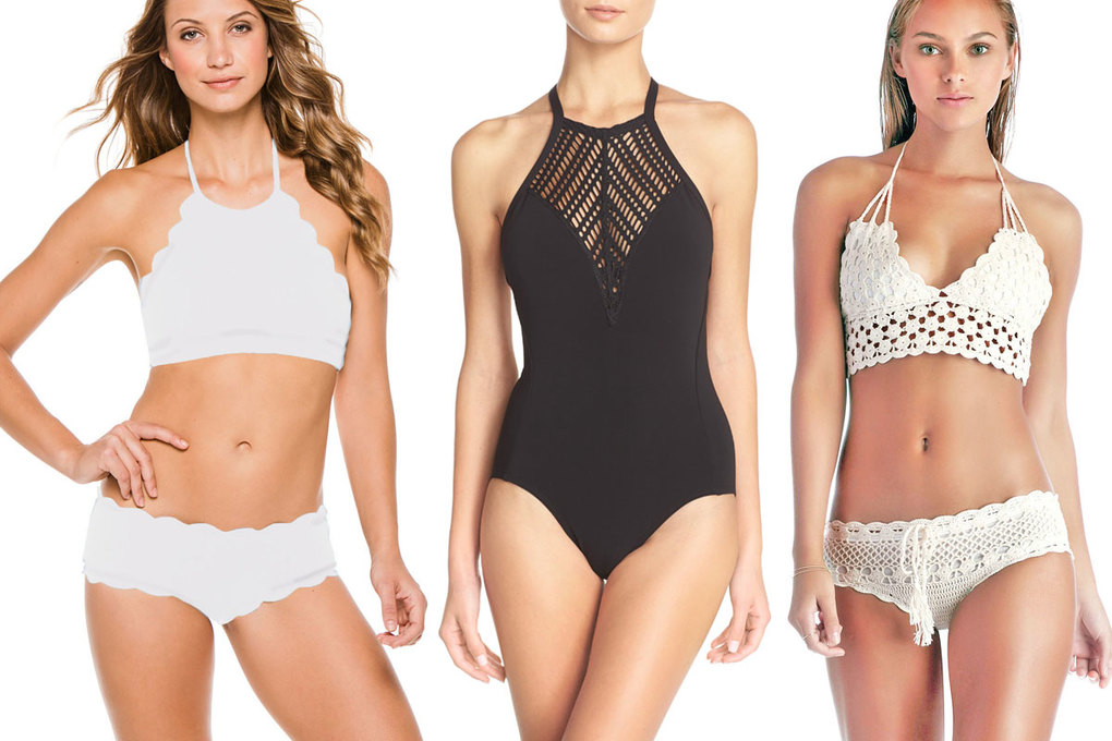 Marysia Antibes Scallop High Neck Halter Top, $143, and Boy Short  Bottom, $137; Robin Piccone Sophia Crochet Neck One-Piece Swimsuit, $158; Vitamin A Nightbird Banded Halter Top, $98, and Boyshort Bottom, $95