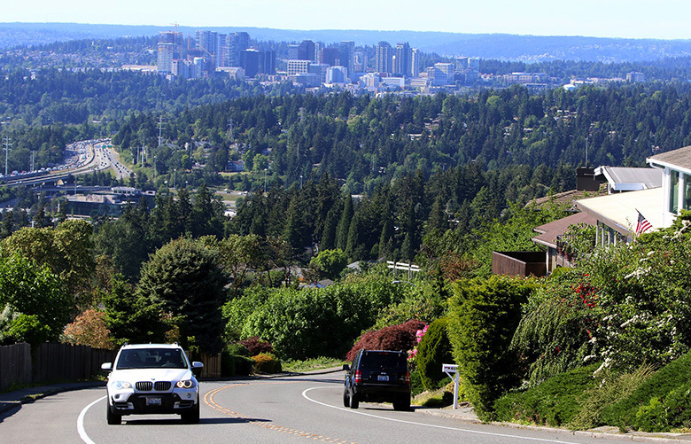 This view from Somerset, south of Bellevue, shows downtown Bellevue. Somerset has lots of steep drives to climb high to the top. Taken May 10, 2016.