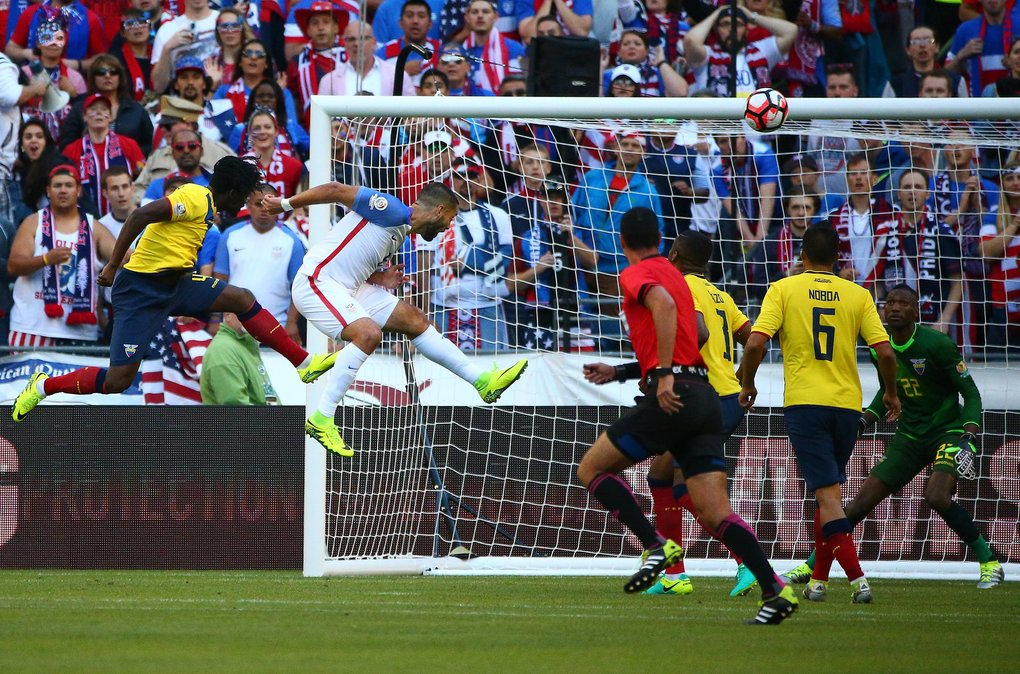 USA's Clint Dempsey (8) heads the ball into the goal, putting USA in the lead, during the first half of the Copa America match 25 quarterfinal between USA and Ecuador at CenturyLink Field on Thursday.  (Sy Bean / The Seattle Times)